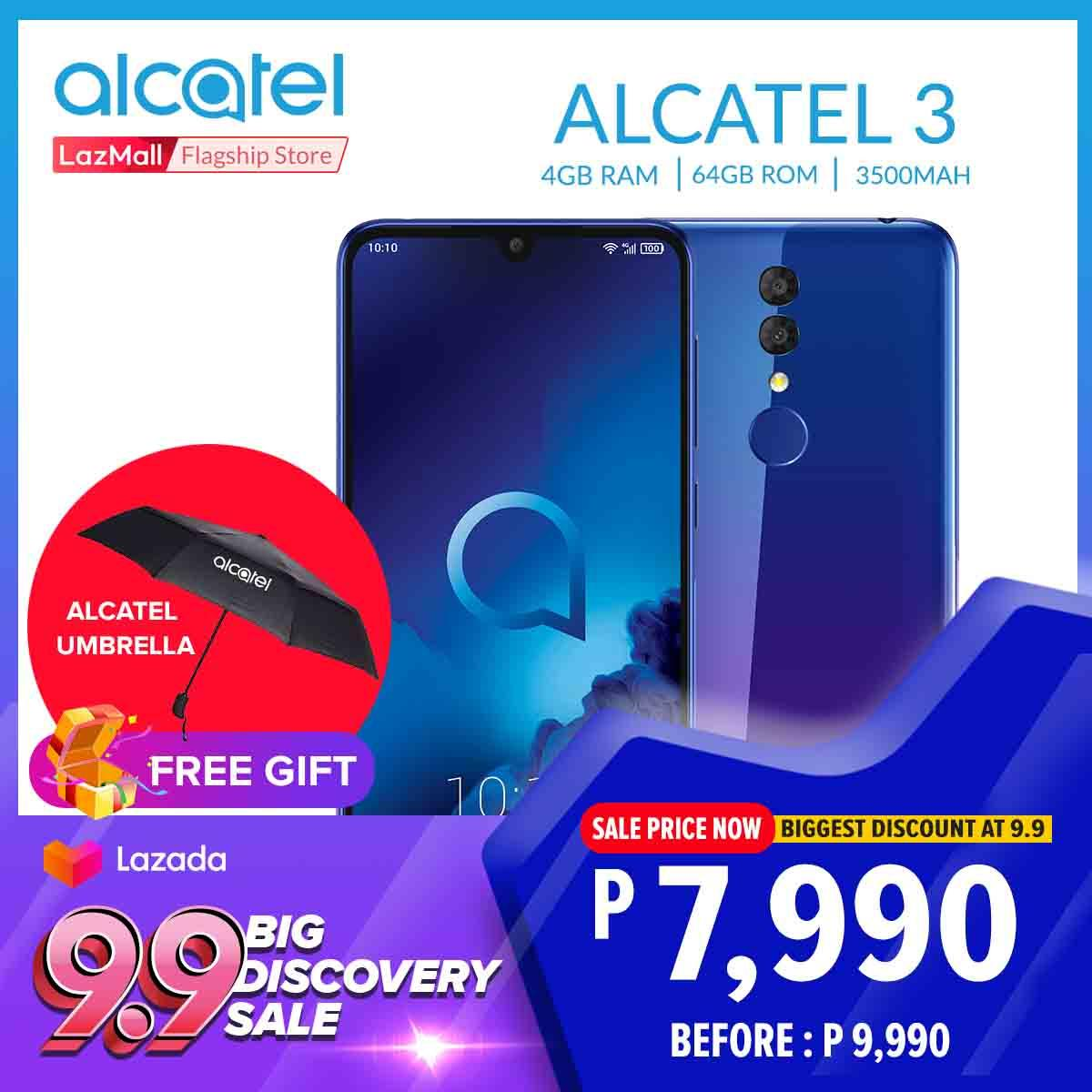 "Alcatel 3 (2019) 5 9"" 19 5:9 Super Full View Display with Free Alcatel  Foldable Bag"
