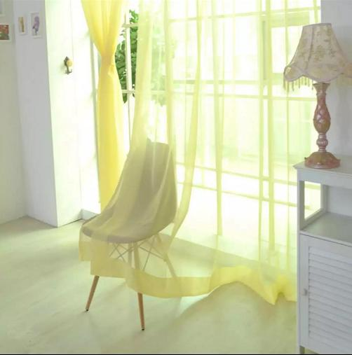 New Solid color Voile Sheer Curtain 1pc image