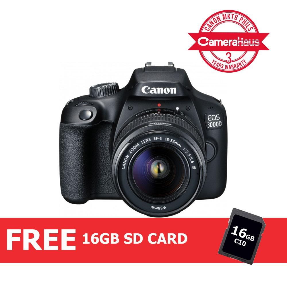 Canon EOS 3000D DSLR Camera with EF-S 18-55mm f/3 5-5 6 III Lens Kit