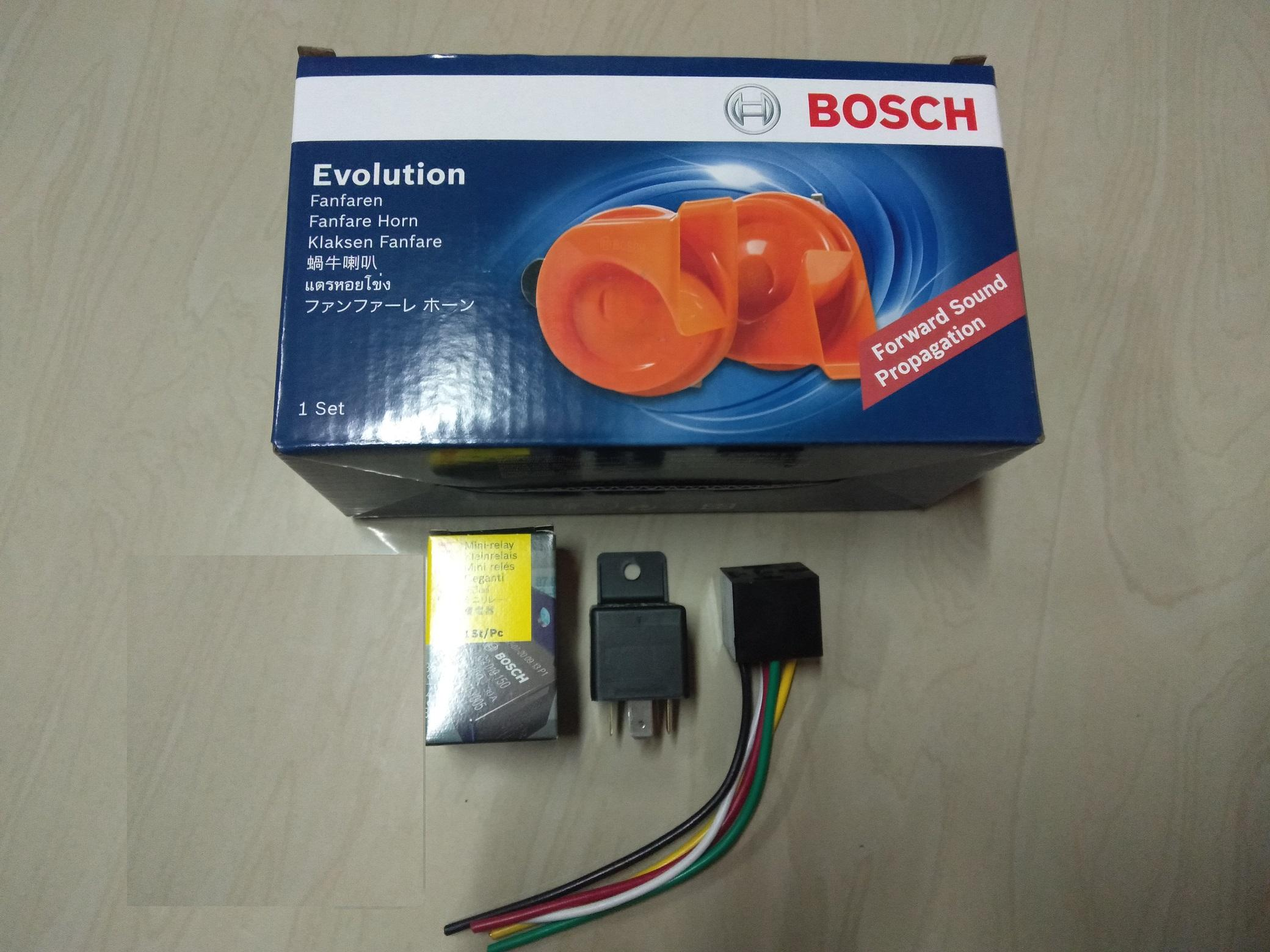 evolution bosch fanfare horn 12 volts with free bosch relay and socket