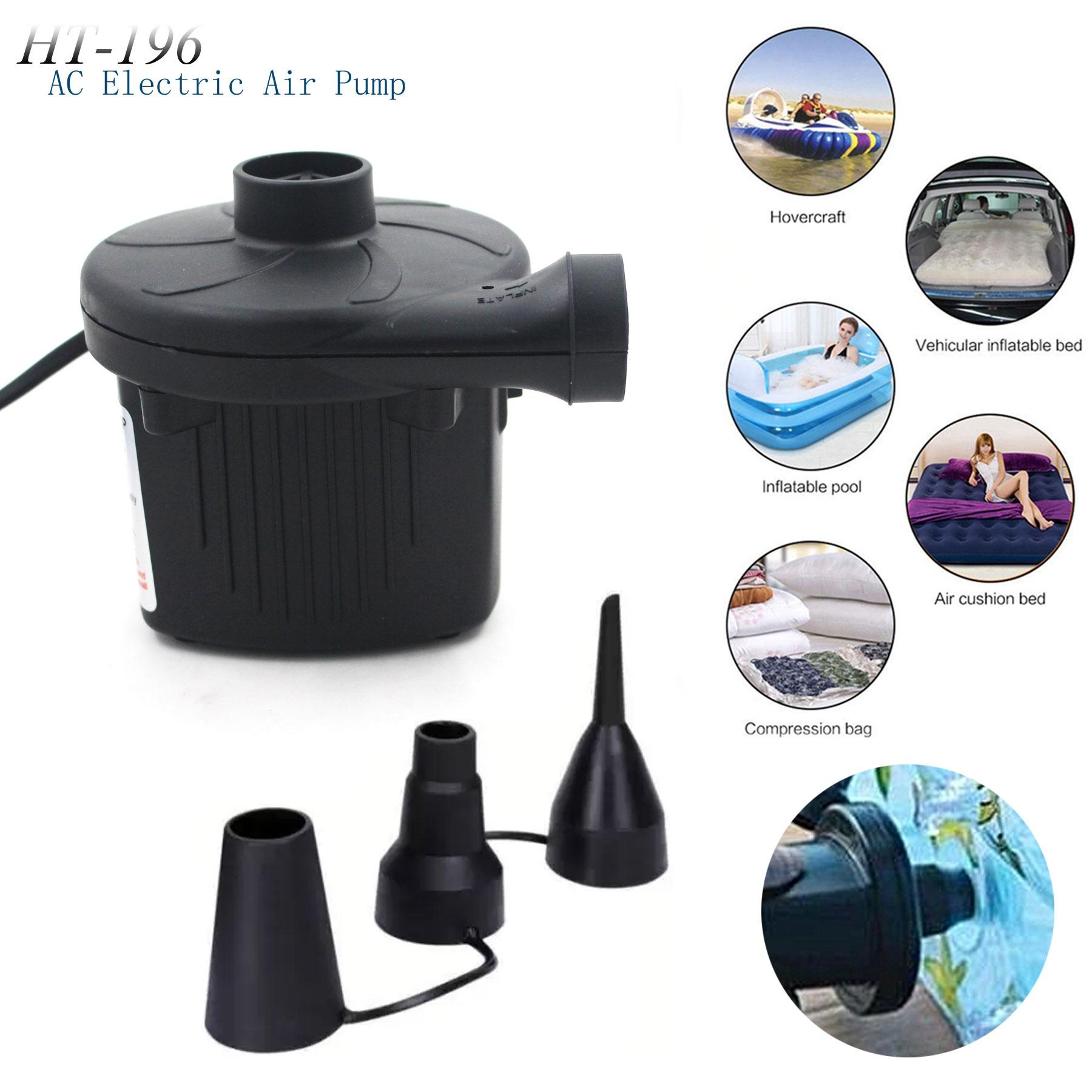 Ht-196 Ac Electric Air Pump Home Quickly Inflates & Deflates For All Inflatables (black) By Gonzalez General Merchandise.