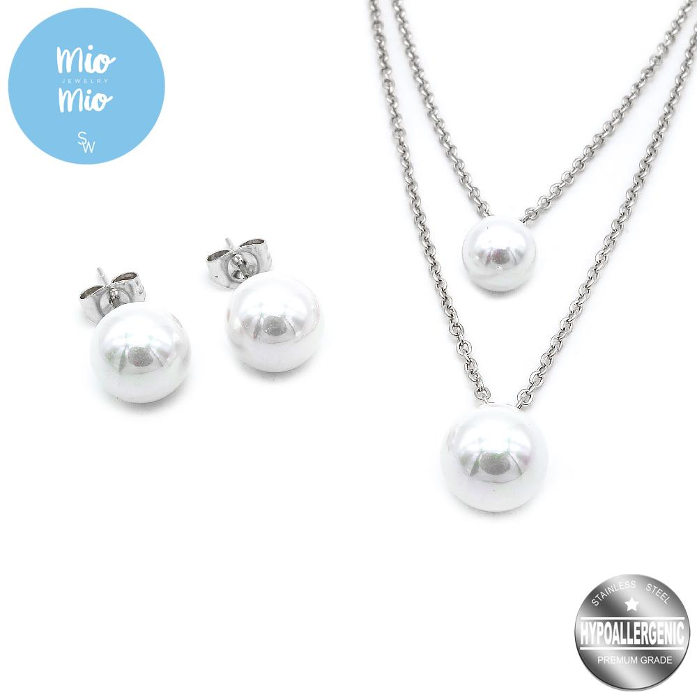 789d084a9c3e Mio Mio by Silverworks Layered Chain with Pearl Earrings and Necklace Set