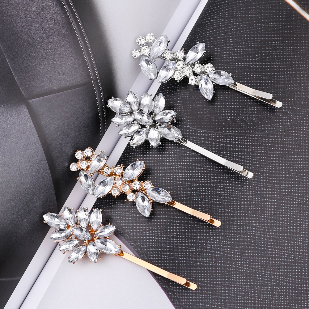 Shiny Rhinestones Hairpins  Metal Barrette Hair Clips Crystal Hairgrip