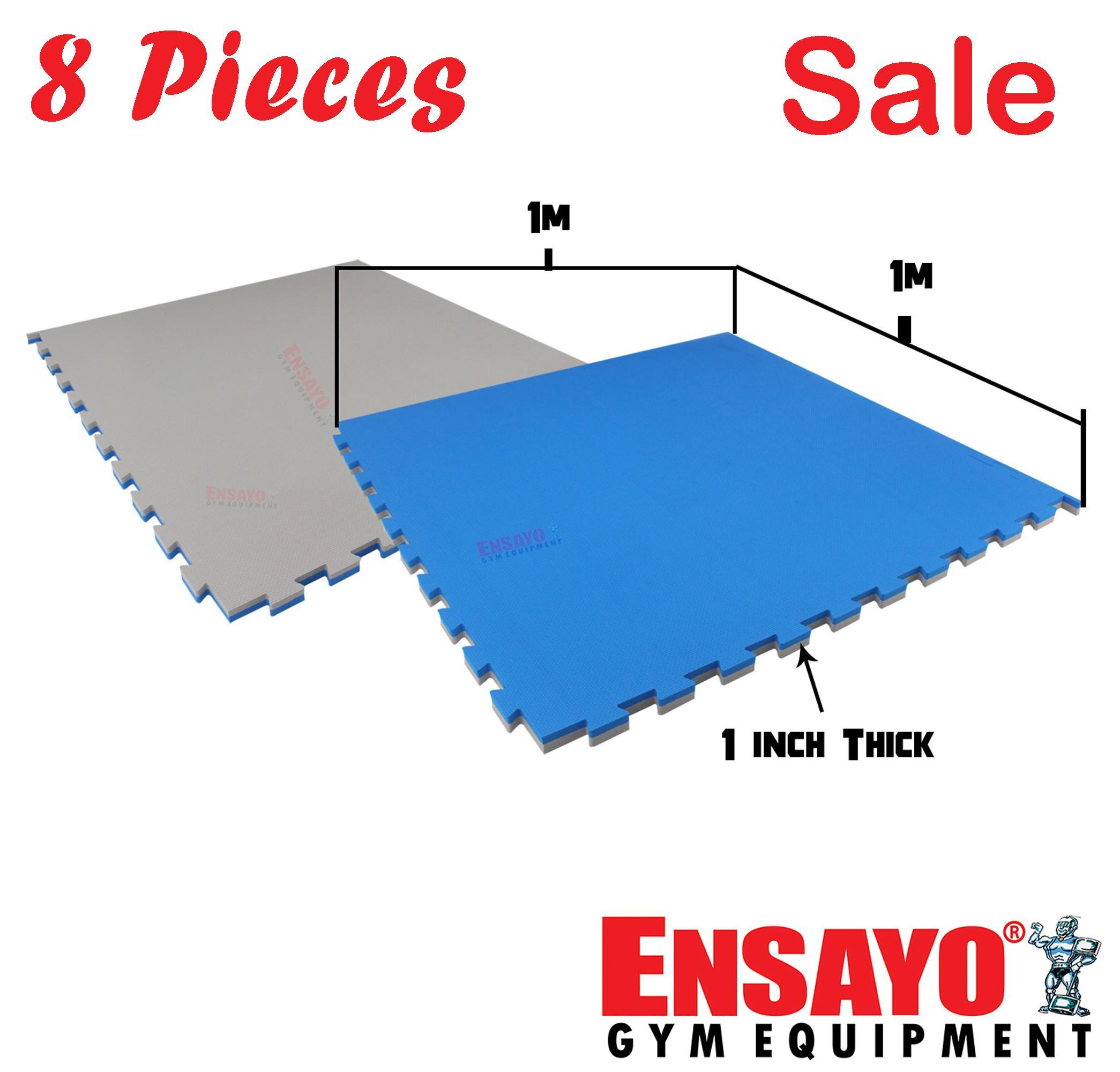 ENSAYO 8pcs  Low Density Mats Blue/Gray 1x1 meter x 1-inch Best  Home/Commercial gym (  Exercise/Workout/Judo/Gymnastics/Jiu-jitsu/Yoga/Grappling/Streng