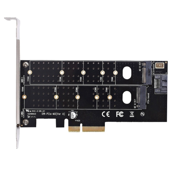 Bảng giá Dual M.2 Pcie Adapter, M2 Ssd Nvme (M Key) Or Sata (B Key) 22110 2280 2260 2242 2230 To Pci-E 3.0 X 4 Host Controller Expansion Card For Desktop Pci Express Slot Phong Vũ
