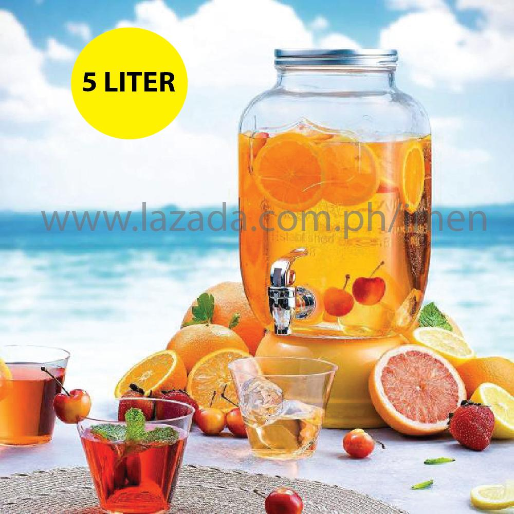 MASON JAR GLASS DISPENSER for Juice/Soda/Beer/Punches 5L for Home/