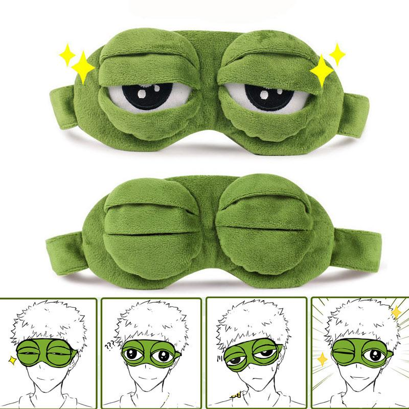 99433c0674b Cute Eyes Mask Cover Plush The Sad 3D Frog Eye Mask Cover Sleeping Rest Travel  Sleep
