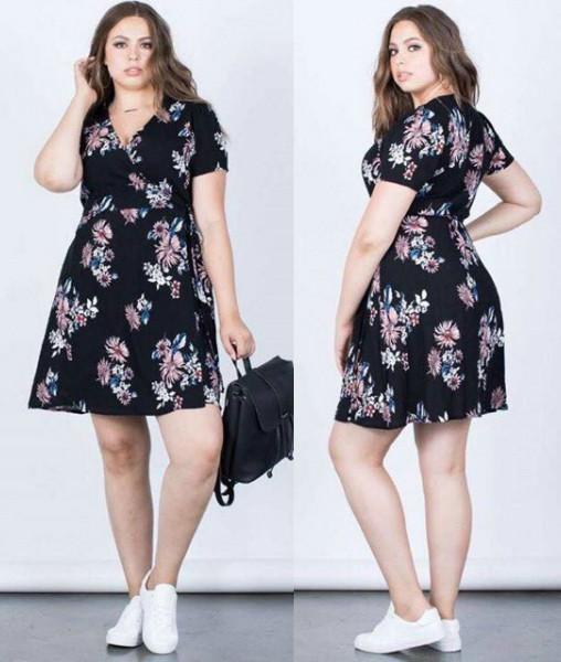 1c739efcf420 Sebrina store fashion floral Plus size dress v neck short sleeve hot on  sale elegant floral