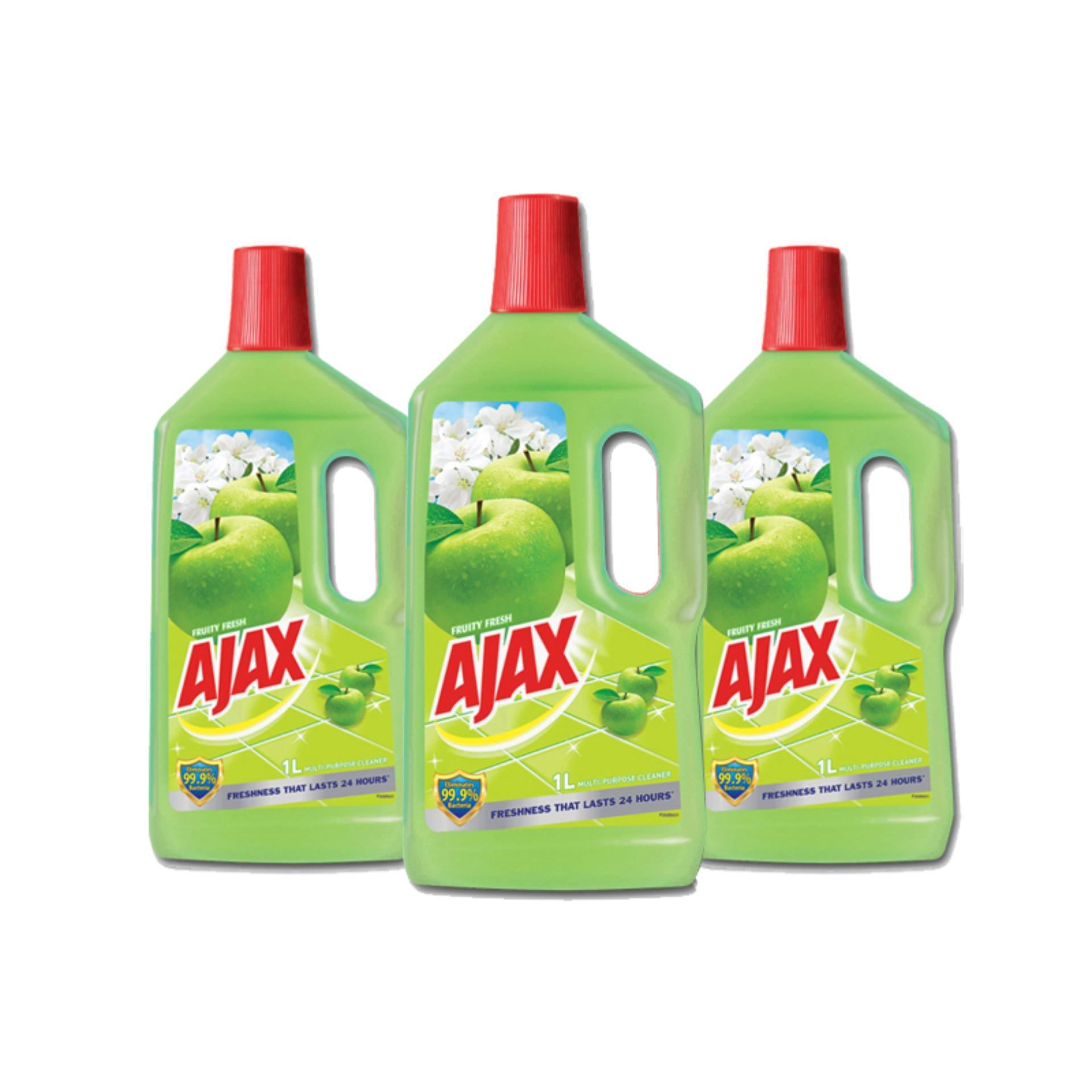 Ajax Fruity Fresh Multi-purpose Cleaner with Anti-bacterial Formula 1L,  Pack of 3