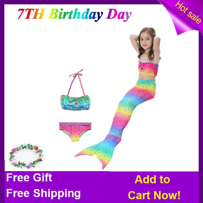 8e6bb4383a5ca Nature Star Children kids Mermaid swimsuit 3 pcs Mermaid tail for swimming  for grils Bathing Suits
