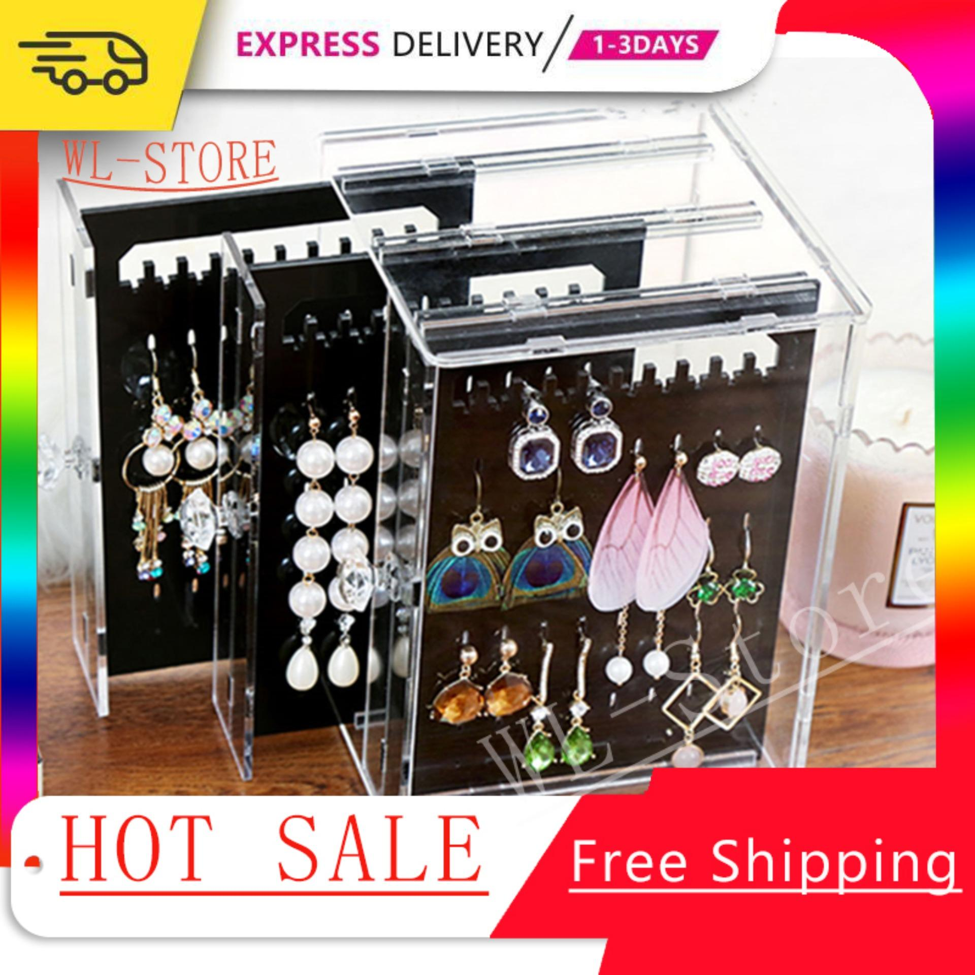 f09b796d4d55 【Ready Stock】Acrylic Jewelry Storage Box Earrings Display Stand Transparent  Organizer