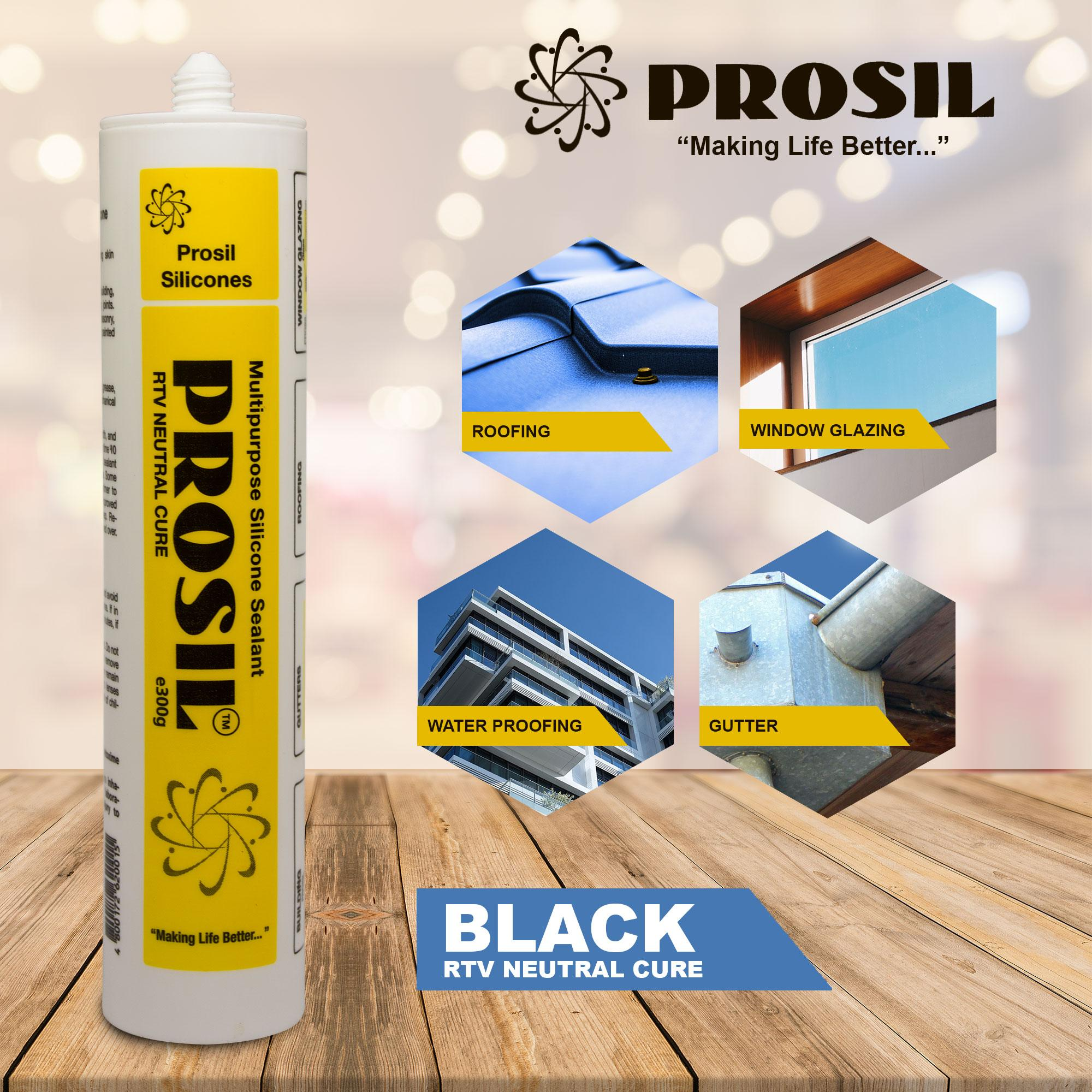 Multipurpose Silicone Sealant Prosil (black, clear, white bronze)