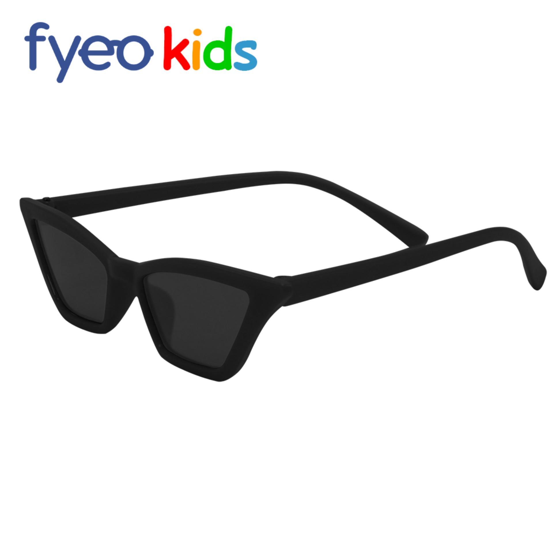 f47c427e5e3 Anti-UV Sunglasses Mini Cat Eyes for Kids Frame Matte Black Lens Black