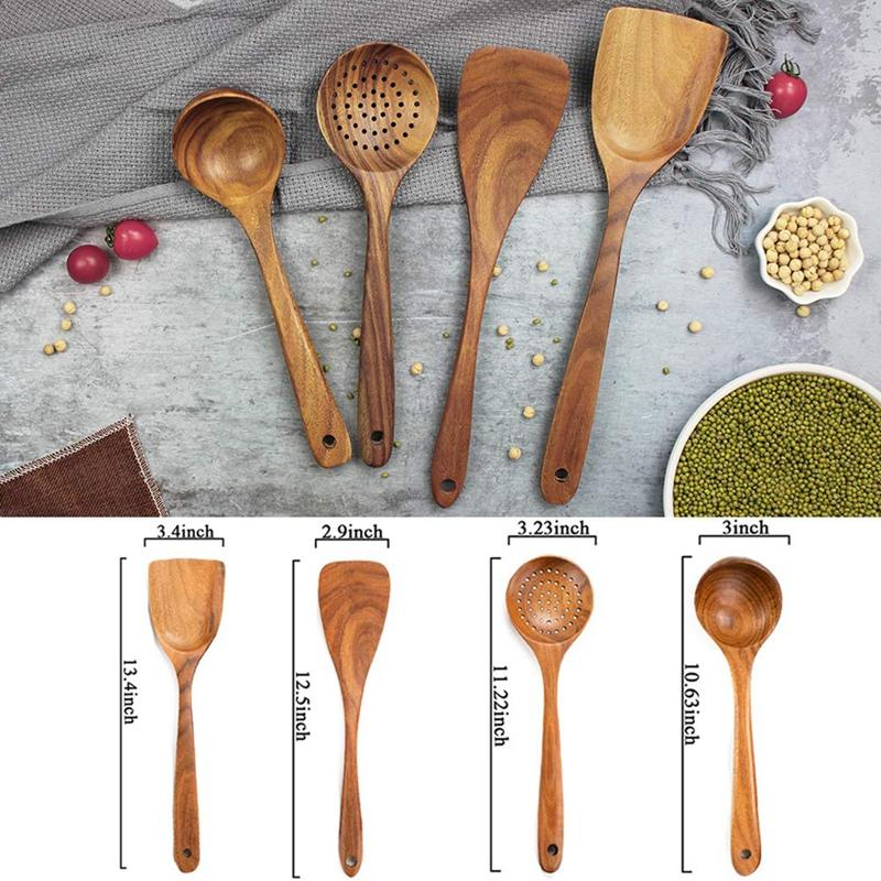 Wooden Cooking Utensils,Wooden Spoons for Cooking,Wooden Spoons for Nonstick Cookware,Organic Teak Wood Kitchen Utensil with Spatula