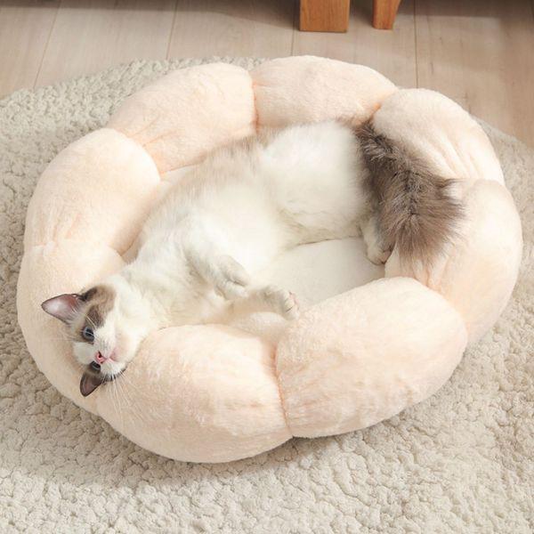 GA27524 Túi Ngủ Cho Thú Cưng Hình Hoa Mèo Con Tự Sưởi Ấm, Đồ Dùng Mùa Đông Thảm Tổ Thú Cưng Trong Hang Giường Cho Chó Giỏ Cho Chó Đệm Cho Mèo