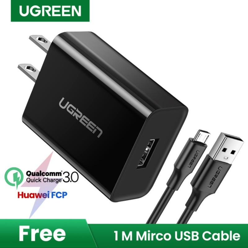 【Free Micro USB Cable】ugreen 2 Pin Phích Cắm Chuẩn Mỹ Được Qualcomm Chứng Nhận Sạc Nhanh 3.0 18W Bộ Sạc Gắn Tường USB Cho Huawei Samsung Oppo Vivo (Màu Đen)-Phích Cắm Chuẩn Mỹ