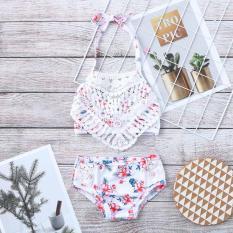 Áo Tắm Hai Mảnh Đi Biển Cho Trẻ Em Bé Gái Hoa Áo Tắm + Quần Short Đồ Bơi Tập