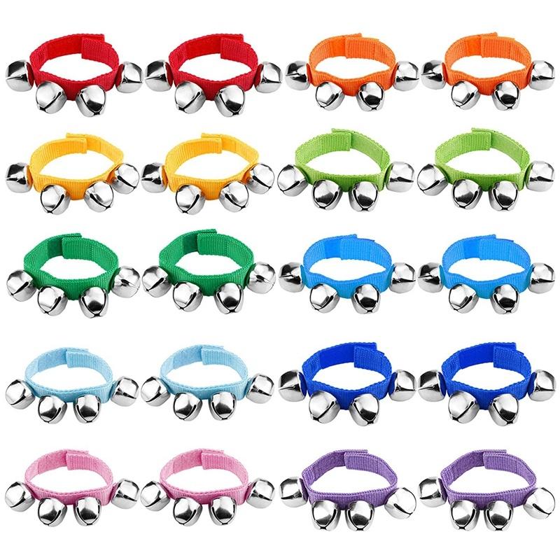 20 Wrists With Jingle Bells Music Rhythm Toys, Random Colors, School Instruments