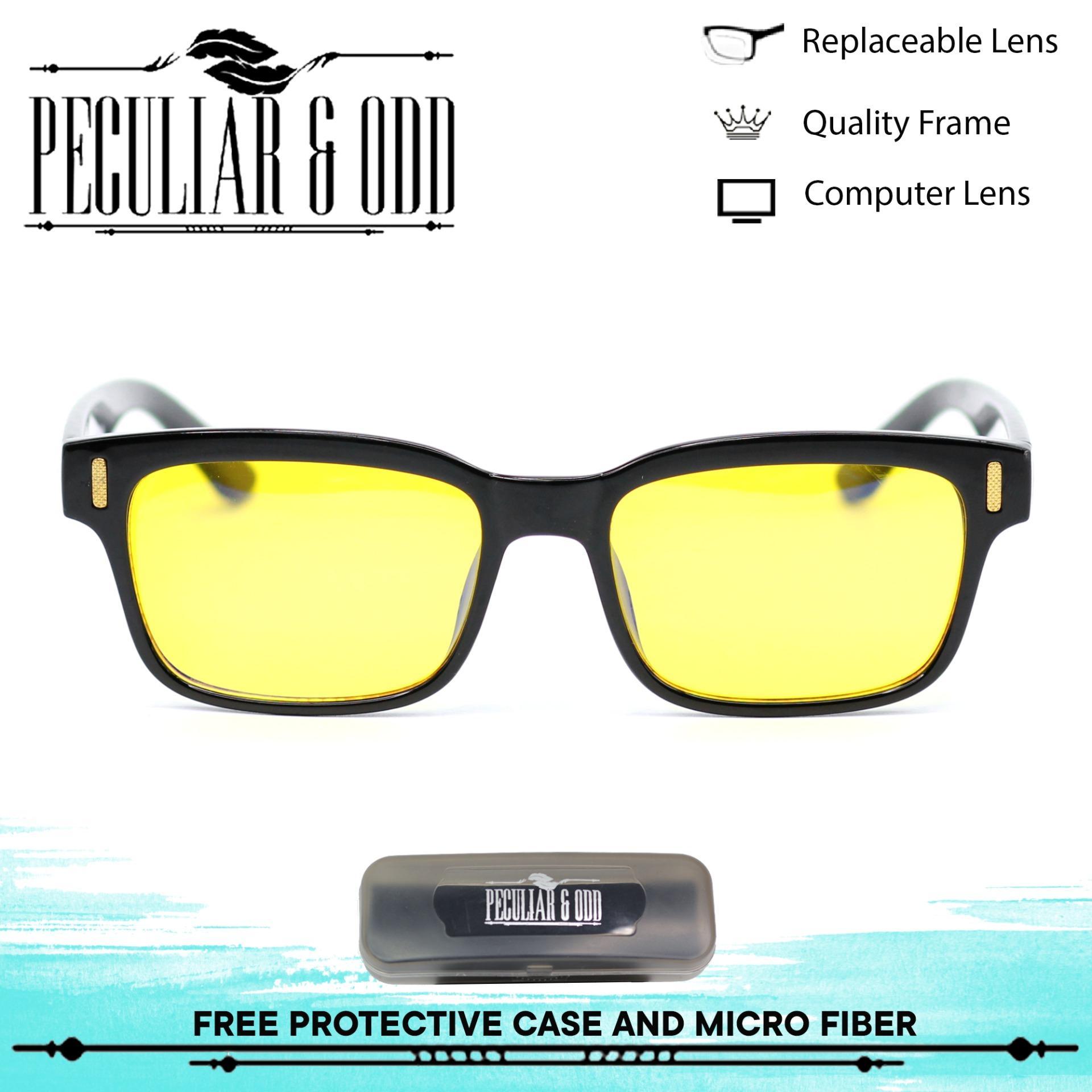 9103e1e658 Peculiar Square 8084 BlackYellow Anti Radiation Computer Eyeglass   Driving  Optical Replaceable Lens Unisex Eyewear