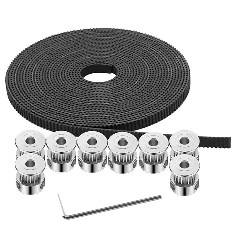 Giá GT2 Timing Belt Pulley, 8Pcs 5mm 20 Teeth Timing Pulley Wheel and GT2 5 Meters Rubber 2mm Pitch 6mm Wide Timing Belt with Hex Wrench for 3D Printer CNC