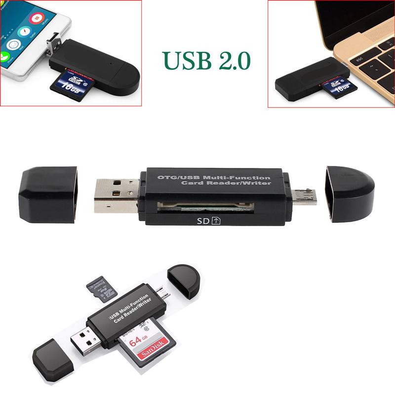 New 2 In 1 USB Memory Card Reader Micro USB OTG to USB 2 0 Card Adapter  SD/Micro SD TF Card Reader For Android Phone Tablet PC