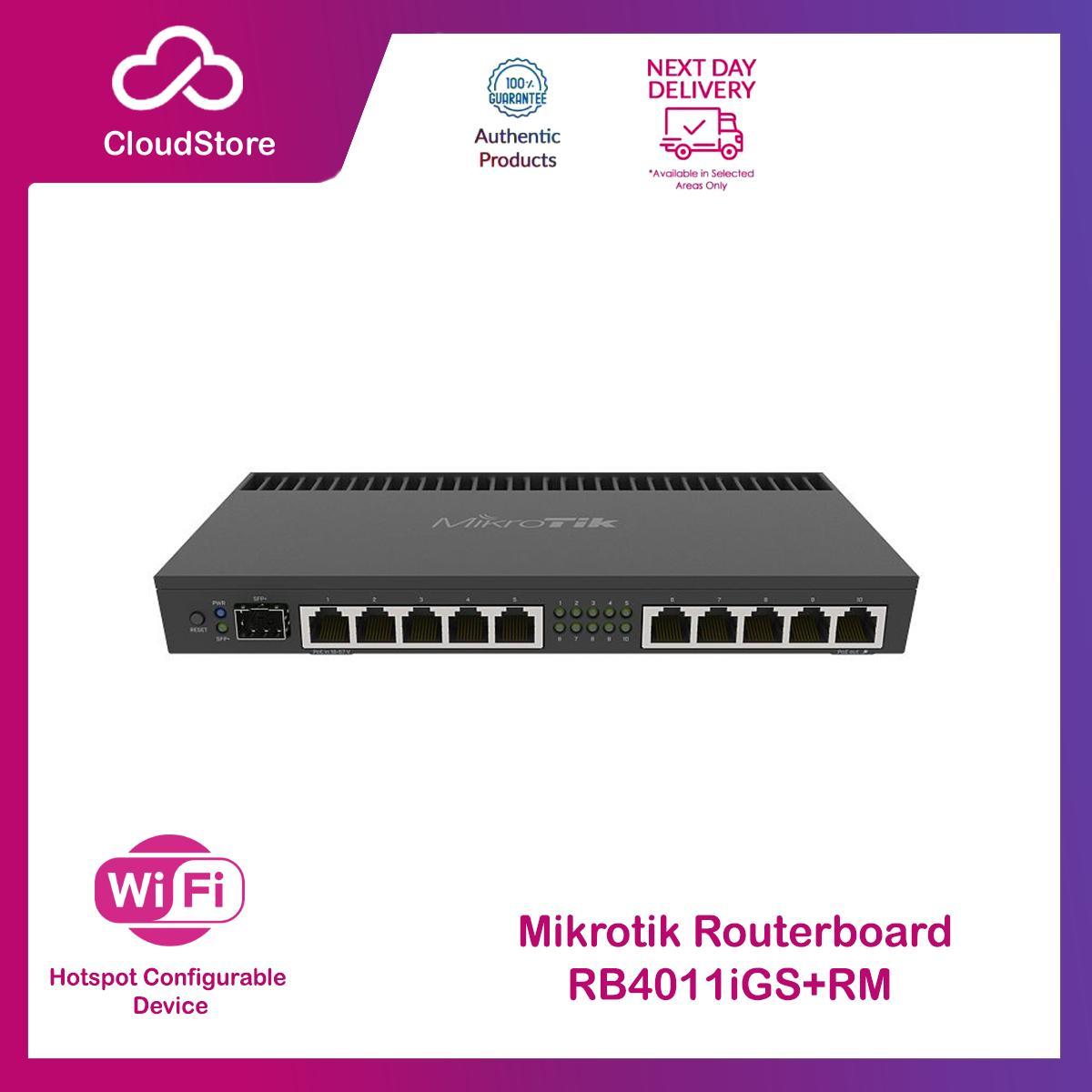 Mikrotik RB4011 10-Port Gigabit SFP+ 10Gbps Quad-core 1 4Ghz CPU, 1GB RAM  Management Rackmount Router - RB4011iGS+RM