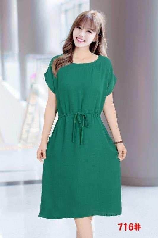 8a89367a794224 Basic Plain Long Dress with Pockets ( can be used as Maternity Dress)