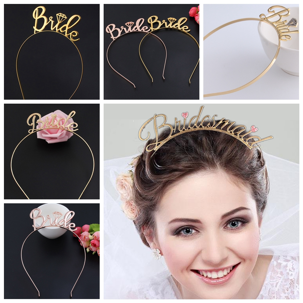 Rose Gold Crystal Bride To Be Hen/'s Night Party Heart Hair Headband Crown Tiara