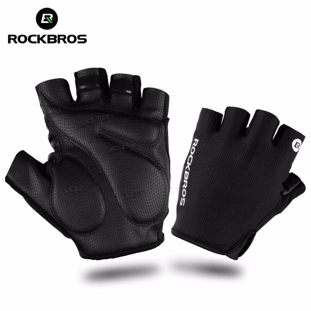 ROCKBROS Summer Cycling Bike Gloves Summer Half Finger Shockproof Breathable MTB Mountain Bicycle Sports Gloves Men