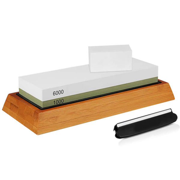 Sharpening Stone, Whetstone 1000/6000 Grits Combination Knife Sharpener Kit Bamboo Base Angle Guide Flattening Stone