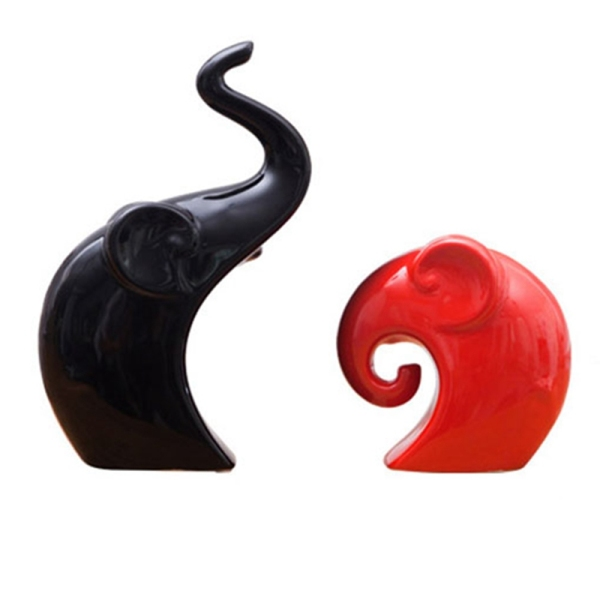 Ceramic Animal Elephant Sculpture Porcelain Jewelry Crafts Art Statue Home Desk Decoration Gifts