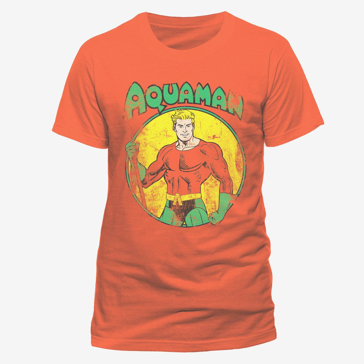 Aquaman Distressed Dc Comics All The Heroes Justice League 100 Cotton Short Sleeve Mens T