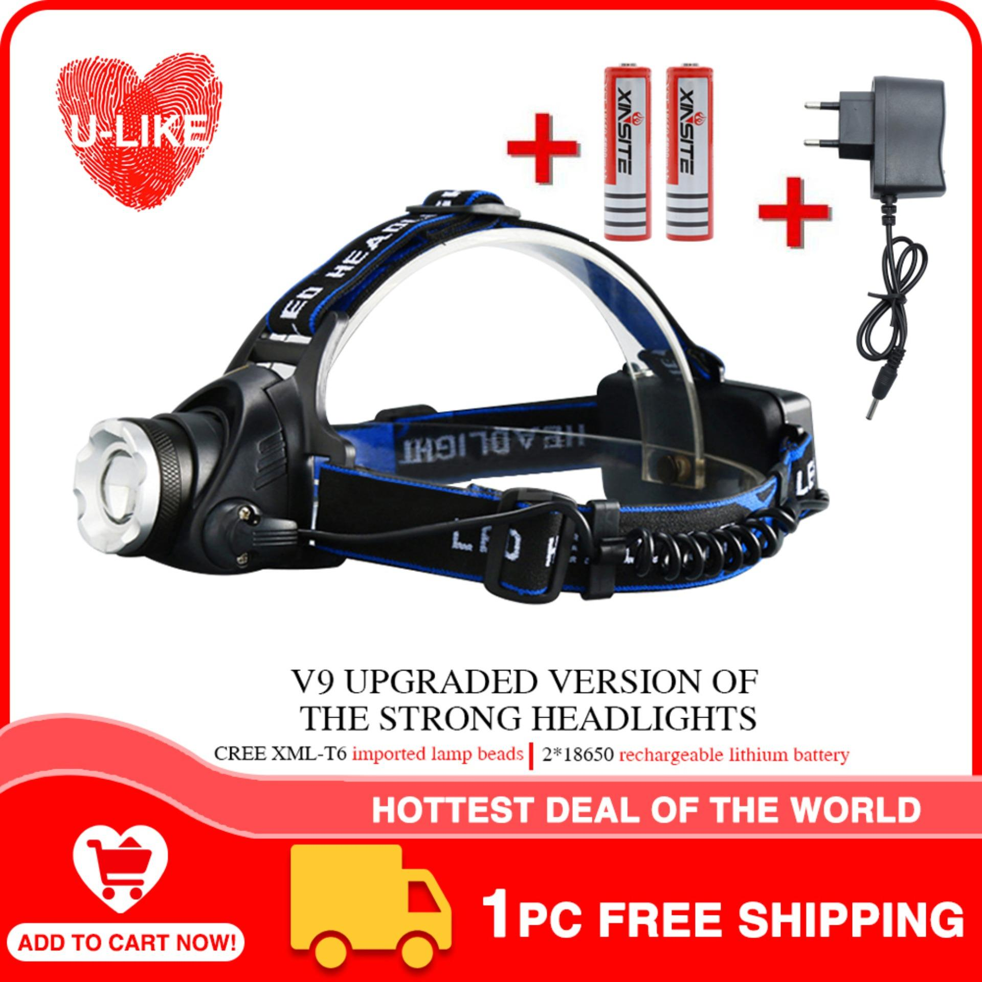 dd8fe3a3bdbd 【Free Shipping】U-like Outdoor Waterproof LED Telescopic Headlamp  Rechargeable Head lamp Helmet