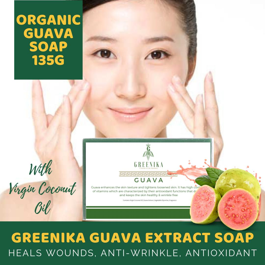 Greenika Organic Herbal Soap Guava Extract Soap (Heals Wounds Fast,  Anti-Wrinkle, Antioxidant, Improve Skin Texture Guava Soap Improves Your  Overall