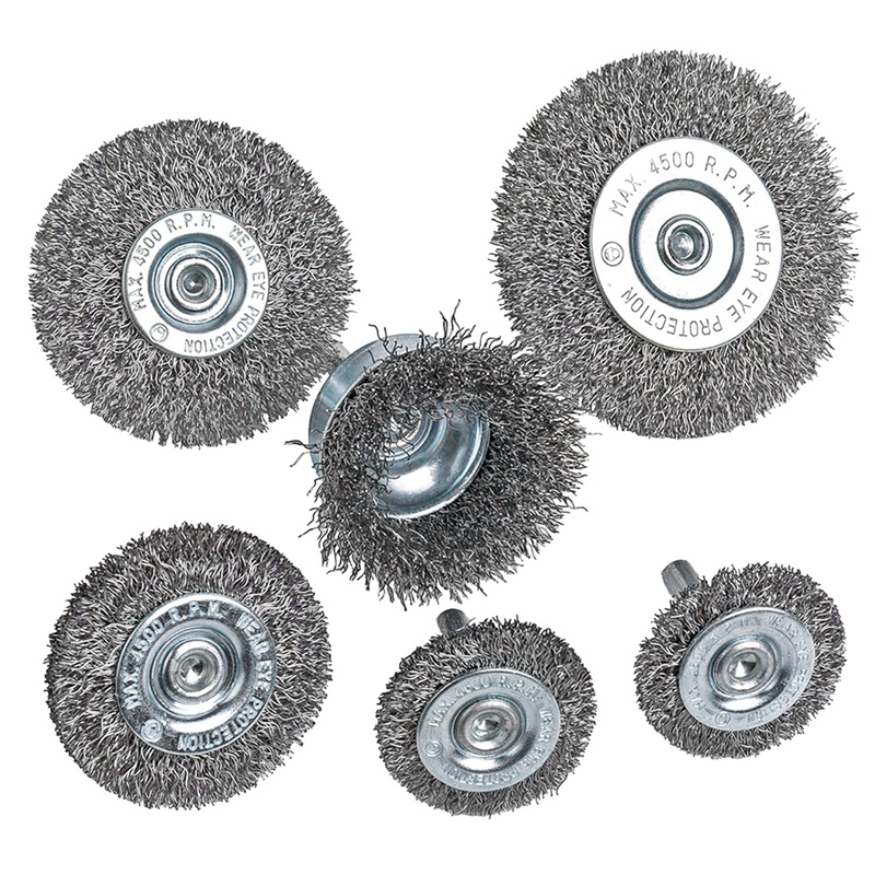 6Piece Wire Wheel Cup Brush Set 0.0118In Coarse Crimped Steel 1/4In Round Shank for Drill