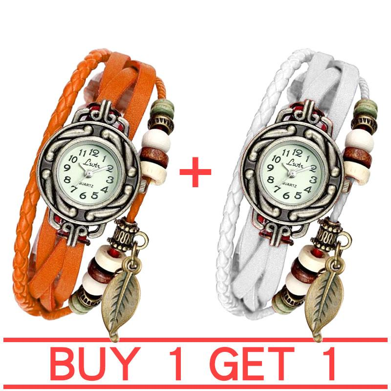 Womens Bracelet Weave Wrap Quartz Leather Leaf Beads Wrist Watches BUY 1 GET 1