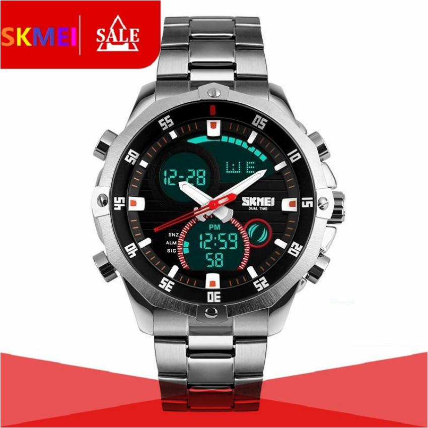 SKMEI Digital Quartz Watch Men 30M Waterproof LED Dual Display Wristwatches Stainless Steel Strap Sports Watches 1146