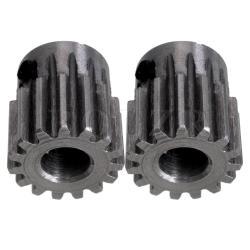 0.5cm 15 Teeth Motor Metal Steel Gear Wheel Set of 2 Silver