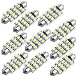 10 42mm 16 SMD LED White Car Dome Festoon Interior Light Bulb