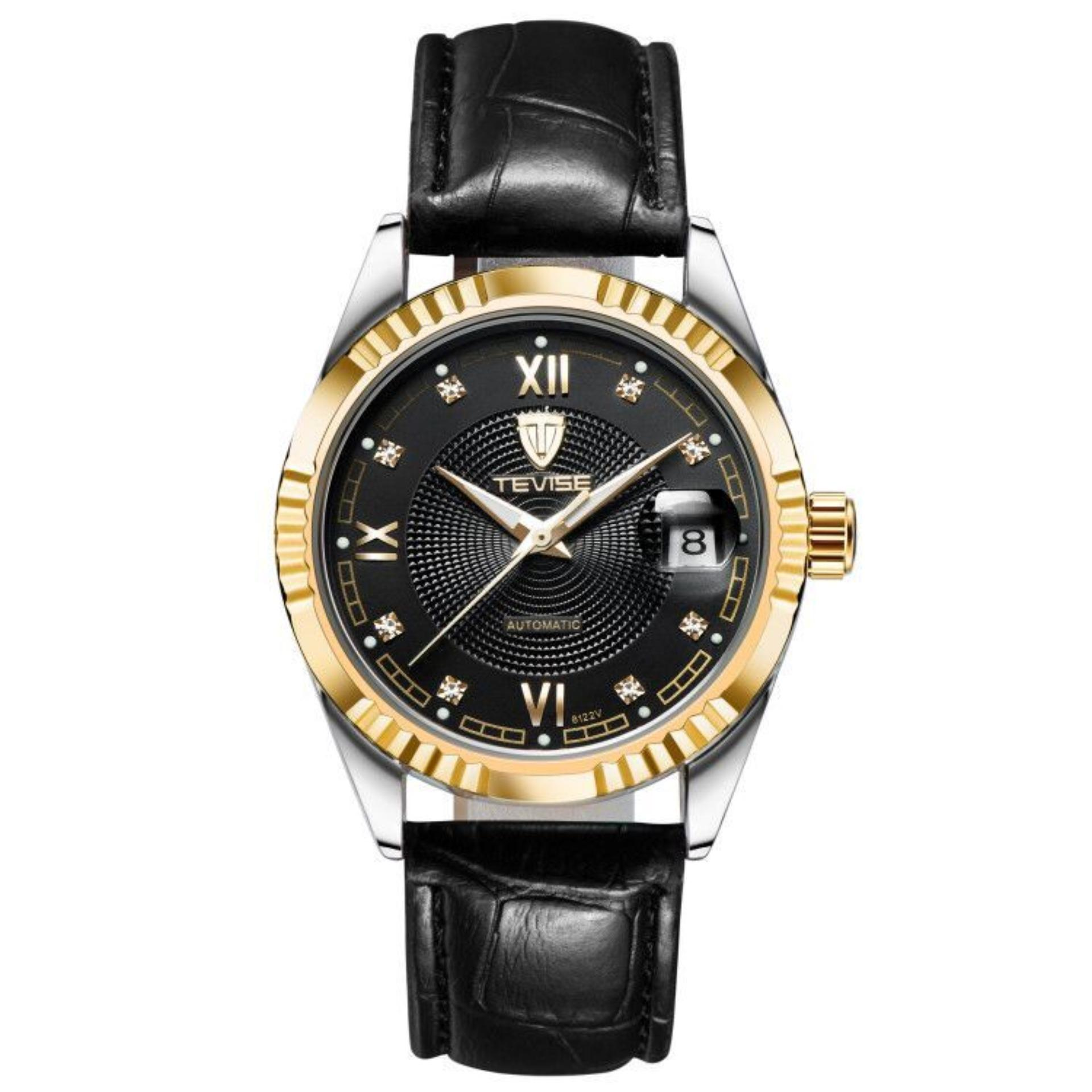 (100% Authentic)Hong Kong Top Brand of Tevise Men's Luxury Diamonds Transparent Skeleton Automatic Mechanical Watch for Business and fashion or casual  - intl