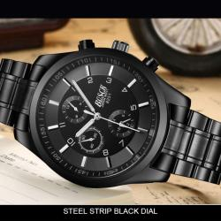 (100% Authentic) V8 Original Brand Men's 2017 Tennis Running Leather Strap Sports Military Skeleton Watch Waterproof Leather Strap Top Brand Luxury Quartz Wristwatch Metal Wrist Watches For Male (Black)