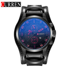 [100% Genuine]CURREN 8225 Men's Round Analog Wrist Watch with Three Decorated Sub-Dial, Alloy Case & Faux Leather Band For Men