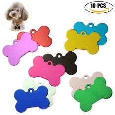 10pcs Pet Tag Bone Shape Aluminum Pet Id Tag Pet Personalized Tag Without Engraving For Cat Dog - Intl By Taopanda.