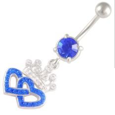 14 Gauge 1 6mm 3 8 10mm Crown Heart Belly Crystal Ferido Sapphire Navel Button Ring Dangly Bar Piercing Akpy Body Jewellery Intl