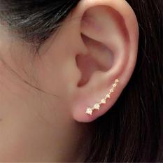1Pair Rhinestone Crystal Earrings Ear Hook Stud Jewelry Gold - intl