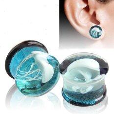 1PC Fashionable Women Men Glass Flesh Tunnel Ear Plugs Piercing Decoration(8mm) - intl