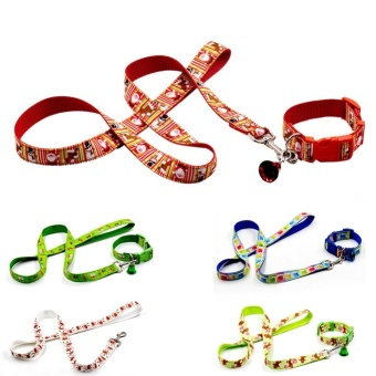 1ps Adjustable Puppy Christmas Print Necklace Bell Collar (2.5cm x 23-32cm) - intl