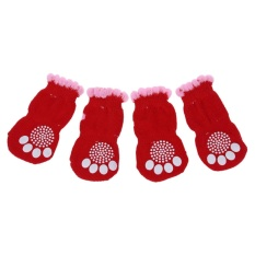 2 Pairs Size L Antislip Bottom Pet Dog Doggie Puppy Socks Red Pink - Intl By Superbuy888.