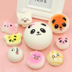 20 Pcs Kawaii Mini Squishy Soft Simulated Food Panda Bread Cake Buns Pendants Key Rings Keychains