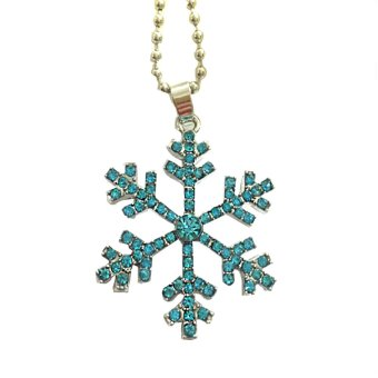 2016 women Fashion Shiny crystal Snowflake Necklace Pendants Chain long necklace jewelry Christmas Gift - Intl